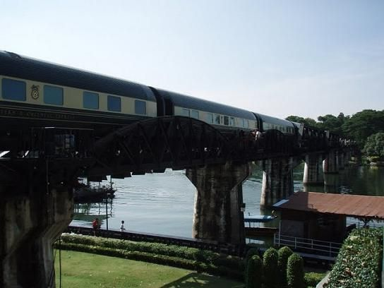 Eastern and Oriental Express on the Bridge on the River Kwai in Kanchanaburi, Thailand