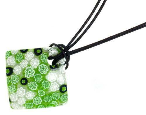 """Sterling Silver Square Green, White and Black Murano Glass Pendant with Black cord, 19"""" Amazon Curated Collection. $44.79"""