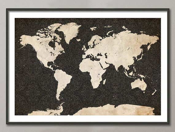 WORLD Map.  Black ink (China ink) on old paper.  By Map Map Maps.  Print High resolution. Gallery quality. Giclée print on natural white, matte, ultra