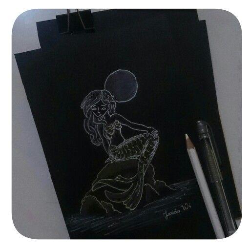 #mermaid #draw #onblackpaper #inspire #need #more #pratise #hobby #art