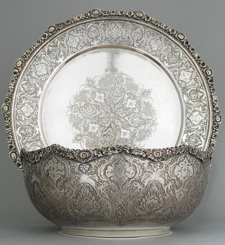 Persian Isfahan Tray Amp Salver Antiques Silver Artifacts In 2019 Silver Trays Travel Persian