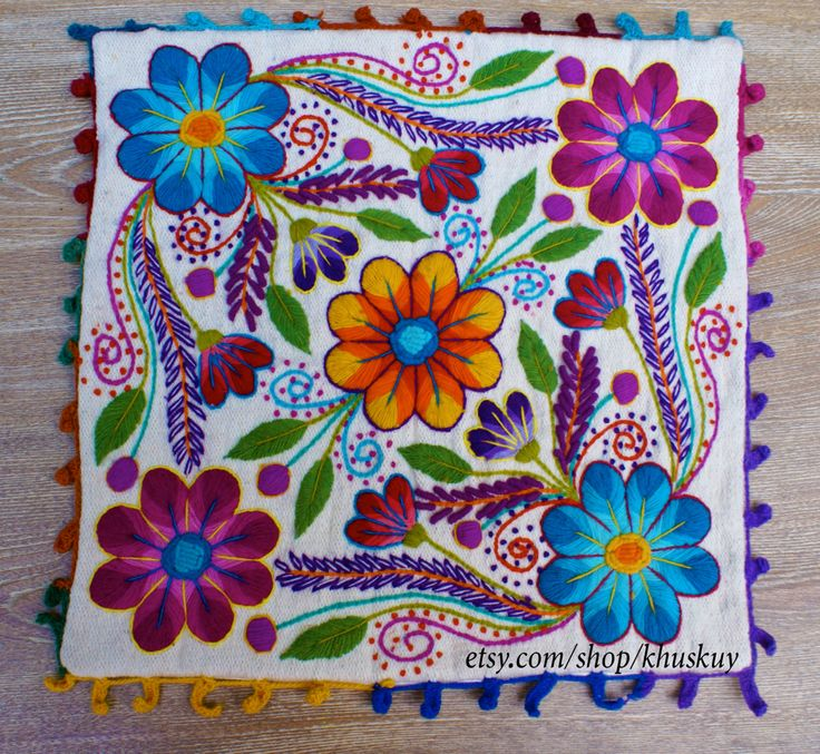 Peruvian embroidered pillow Hand embroidered flowers Sheep & alpaca wool 16 x 16 Peruvian loomed cushion covers by khuskuy on Etsy