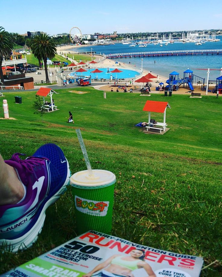 Lazy Saturday after pilates. New runners juice and magazine reading at Eastern Beach #launch2 #brookslaunch2 #brooks #runnersworld #boost #boostjuice #geelong #victoria #australia #saturday #loner #relaxing #easternbeach #summer @brooksrunningau @runnersworldaus #runnersworldausnz #tomtomspark #treatyoself by brodiefinning http://ift.tt/1JtS0vo