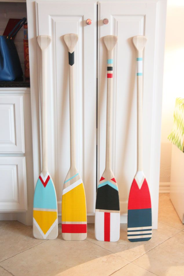 Easy Diy Painted Oars Pencil Shavings The Blog House Beach Decor