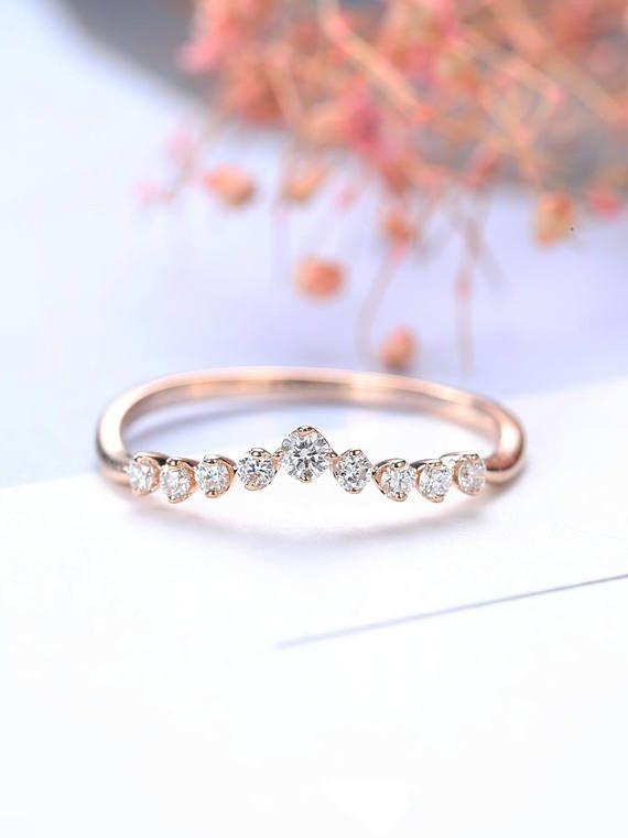 Art Deco Antique Diamond Wedding Band Rose Gold Curved
