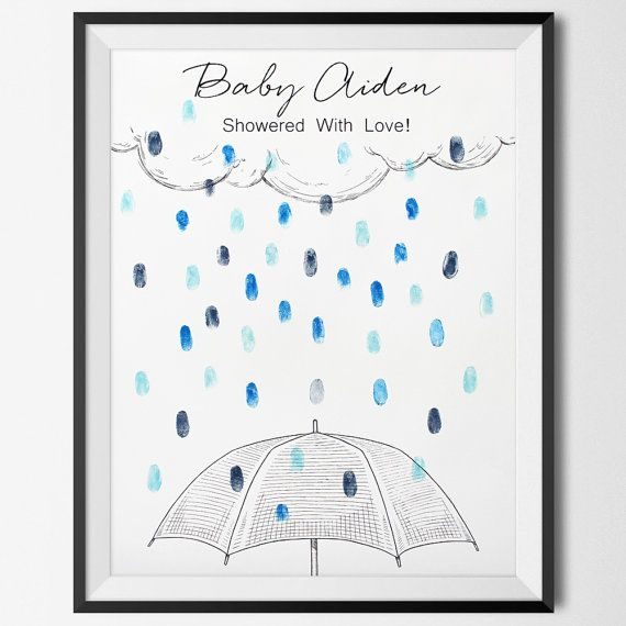 Baby Shower Guest Book - Rain Drops Baby Shower Guestbook is the perfect baby shower sign in and baby shower guestbook.