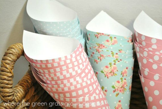 A super simple menu could be popcorn and birthday cake/cupcakes.   Shabby Chic Popcorn Funnels via Etsy