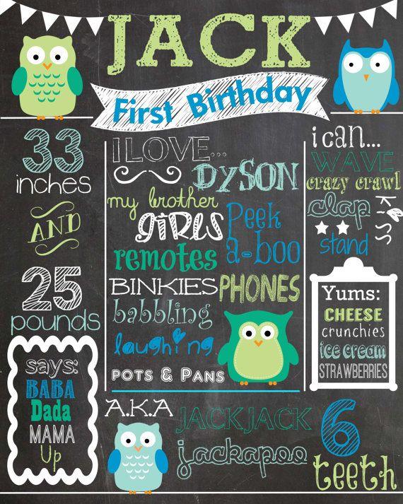 Custom Birthday Chalkboard - Boy - Green and Blue Owls