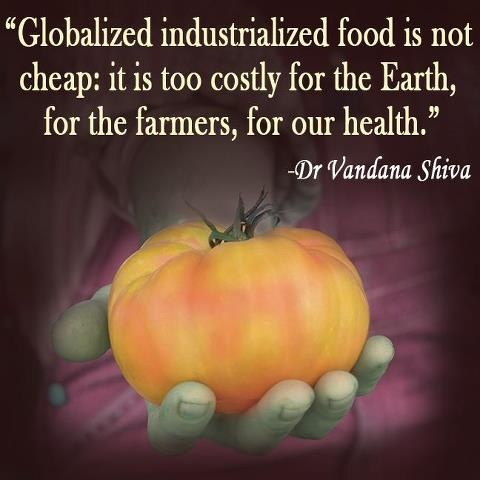 """Globalized industrialized food is not cheap: it is too costly for the Earth, for the farmers, for our health."" Dr. Vandana Shiva"