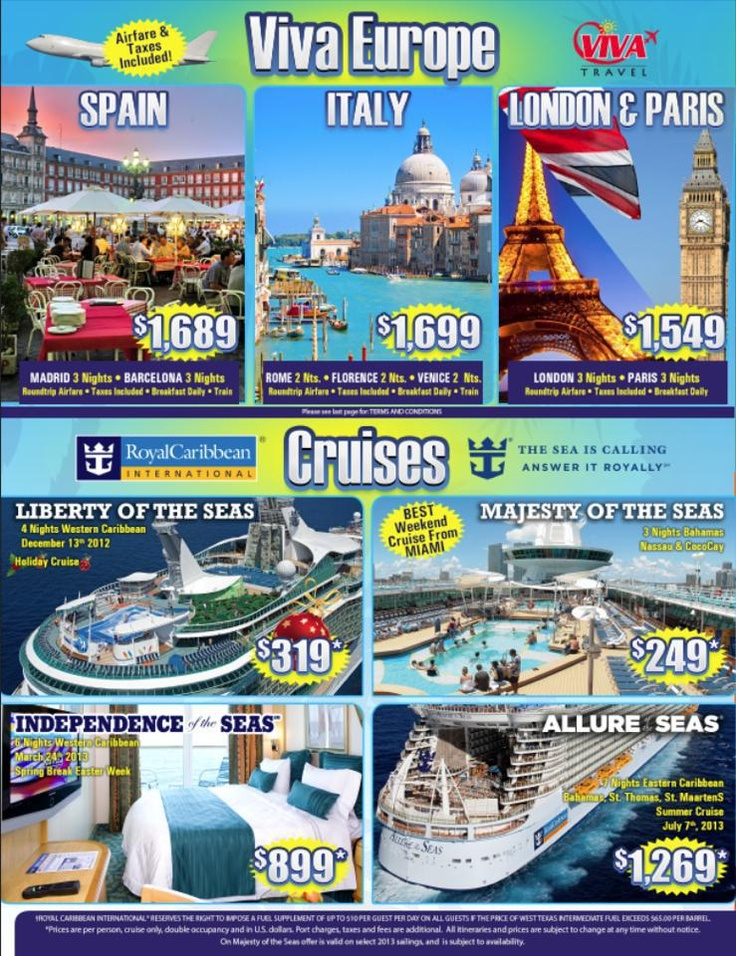 The best way to travel across the pond is with Viva Travel! We offer direct flights to Europe and all inclusive packages to Spain, Italy, London and Paris.    Or take a cruise and enjoy one of the many itenararies that we offer including cruises to Western/Eastern Caribbean and the Bahamas. #VivaTravel #VivaVeranoPuntaCana #vivapuntacana #VivaVerano2013  #vivatrips #paradise #puntacana #vacation #ineedavacation #DominicanRepublic