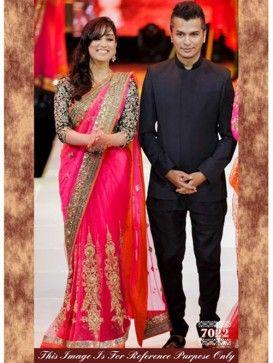 Pink Designer Bollywood Replica Lehenga Saree