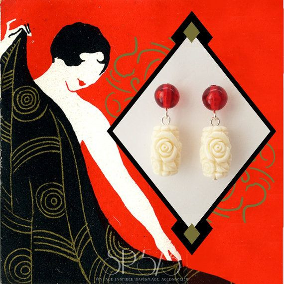 Ivory Earrings Craved rose Ivory Red Earrings Repro by sp573
