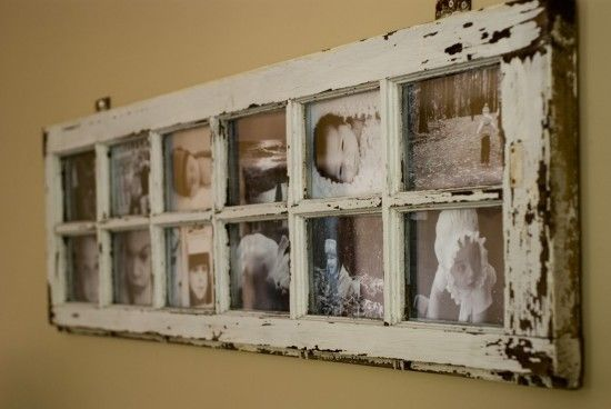 Old window made into picture frames..hinges uses to hang it - very cool!
