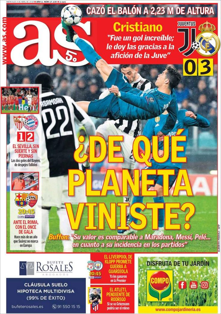 20180404 Portada de As (España) Juve, Periodicos de