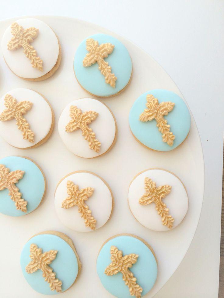 Christening Boy Cookies Cross Blue Gold My Cakes