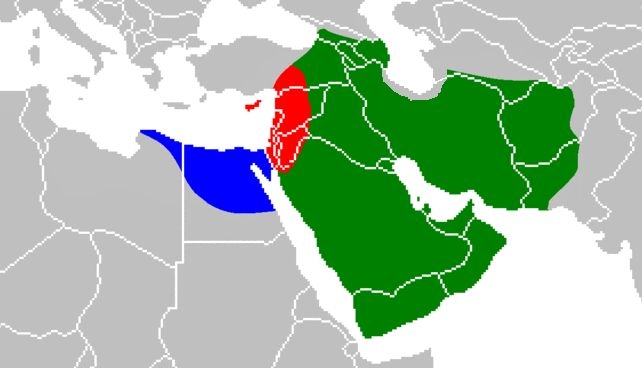 Domains of Rashidun Caliphate under four caliphs. The divided phase relates to the Rashidun Caliphate of Ali during the First Fitna.   Strongholds of the Rashidun Caliphate of Ali during the First Fitna   Region under the control of Muawiyah I during the First Fitna   Region under the control of Amr ibn al-As during the First Fitna