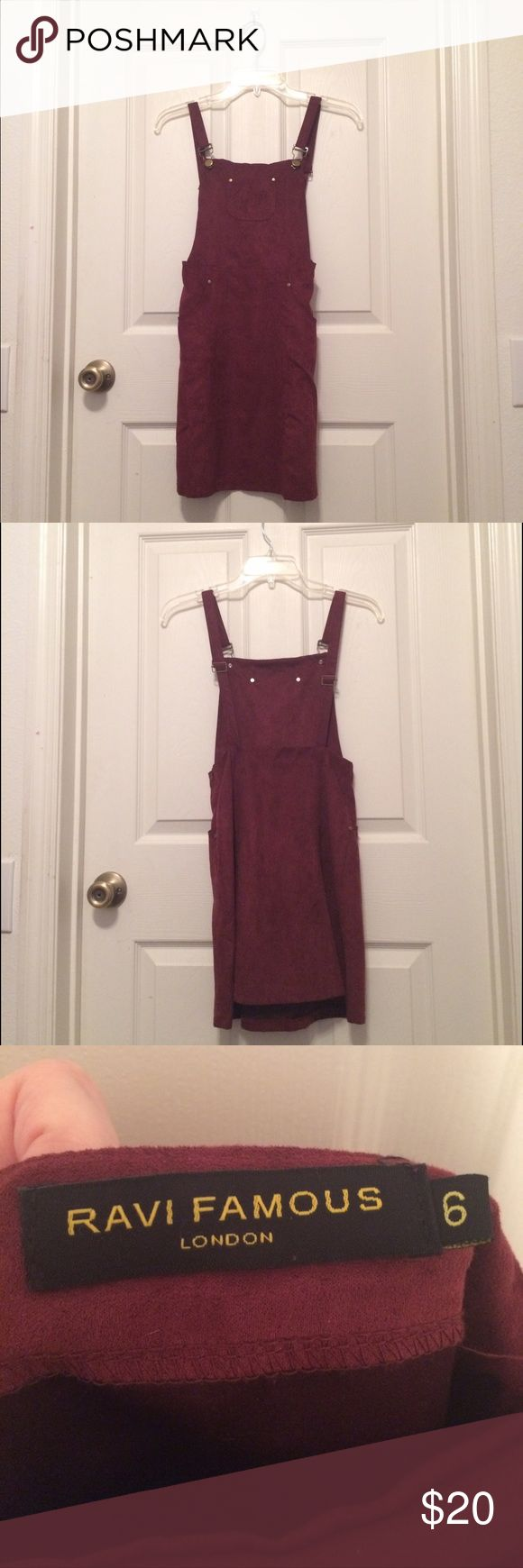 Wine colored faux-suede pinafore Only worn to try on. There's nothing wrong with it, it's just too small for me. European size 6, a size 2 in US. If you want measurements, just ask! It has three pockets, adjustable straps and a zipper on the side. I wouldn't recommend for someone with big hips or butt because it's hard to get on over those assets. Any questions or offers, just ask! Ravi Famous Dresses Mini