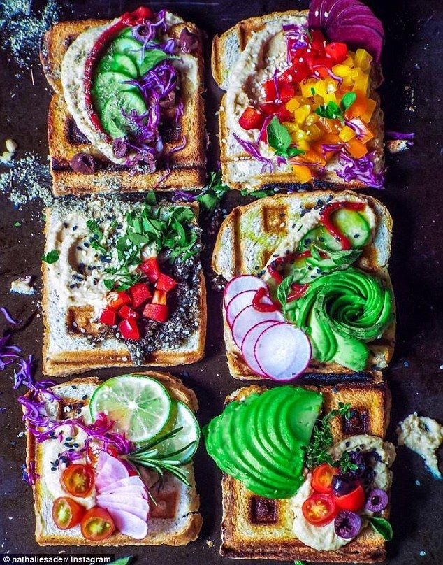 She keeps a plant-based diet, favoring breakfasts like this these rainbow waffle toasts topped with hummus, zaatar, avocado, and colorful veggies