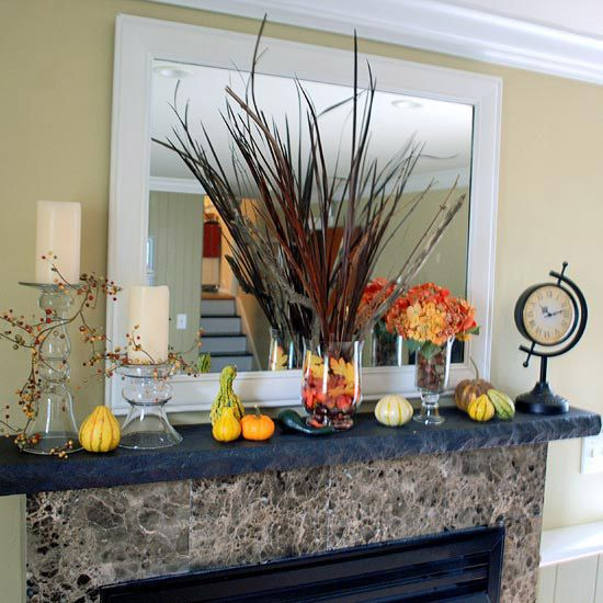 Fall Fireplace Mantel Decorating Ideas: Fall Mantel Decorating Ideas