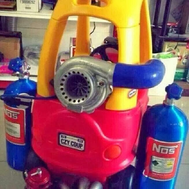 Something only a gear head dad would do! Little Tikes turbo nItrous buggy