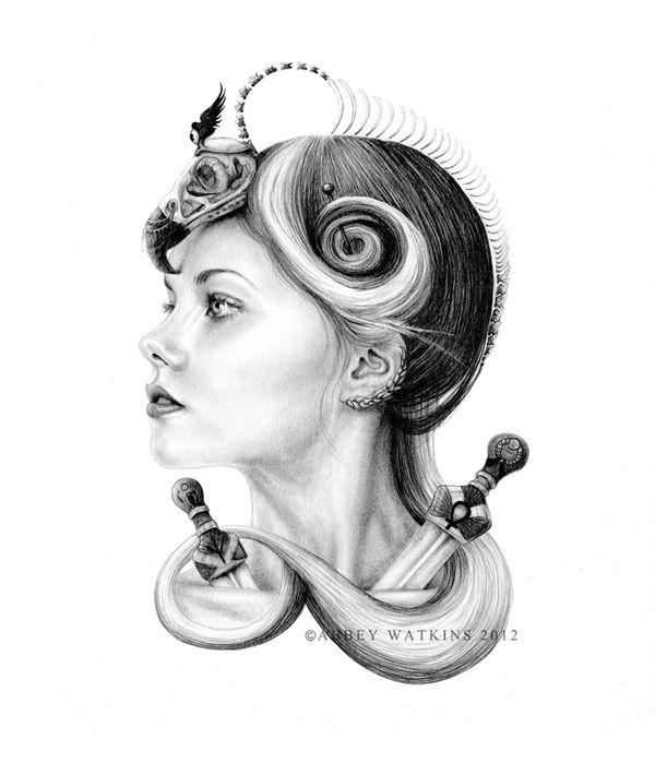 Mythological Portrait Series by Abbey Watkins, via Behance