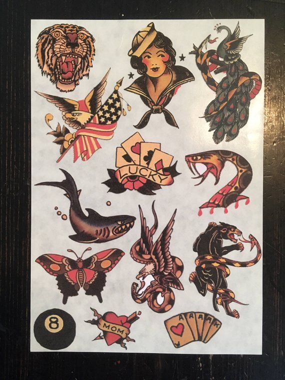 Sailor Jerry Stickers : sailor, jerry, stickers, Sailor, Jerry, Tattoo, Flash, Sticker, Sheet, Number, Includes, Shark,, Peacock,, Panther,, Snake,, Gir…, Flash,, Tattoos,