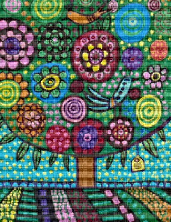 Modern Cross Stitch Pattern By Heather Galler ' by GeckoRouge, $25.00