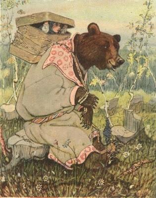 "Illustration by Evgeenii Rachev, ""Masha and the Bear""."