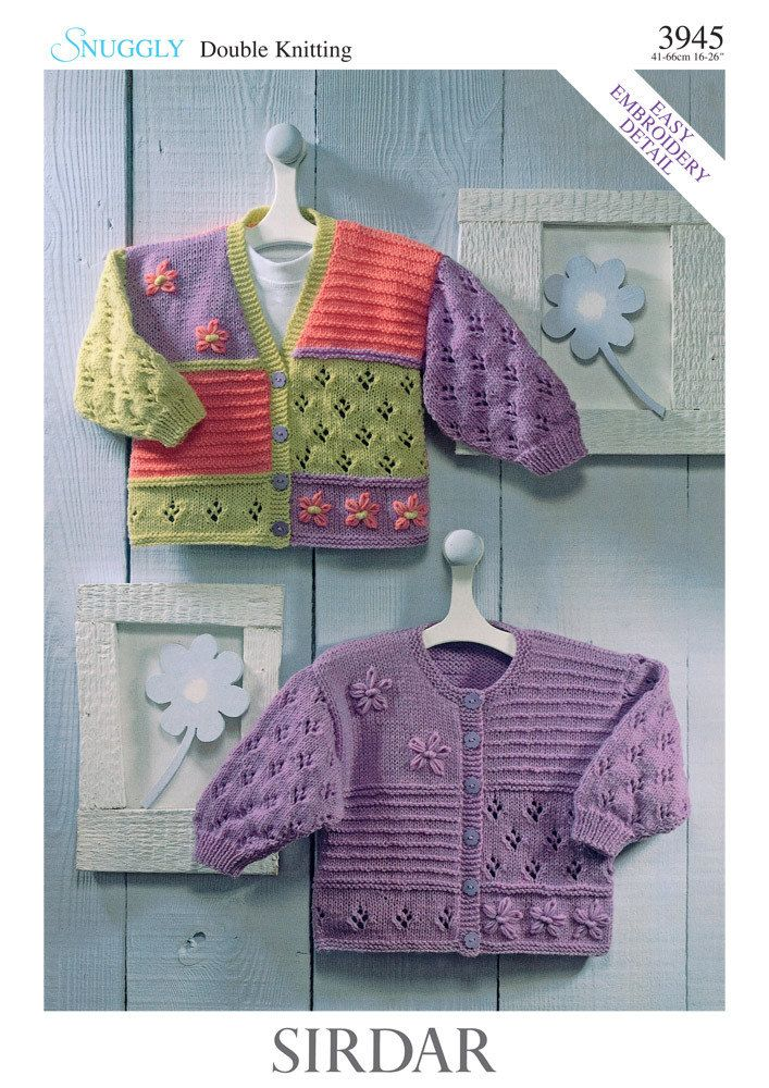 Cardigans in Sirdar Snuggly Double Knitting 3945 Downloadable PDF. Discover more patterns by Sirdar at LoveKnitting. The world's largest range of knitting supplies - we stock patterns, yarn, needles and books from all of your favourite brands.