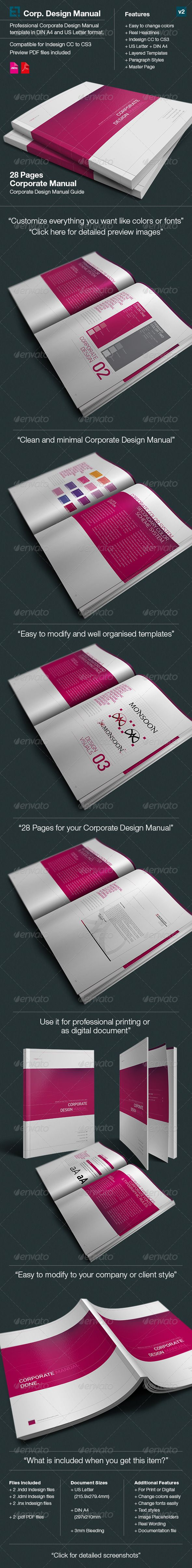 Corporate Design Manual Guide -  28 Pages Get the source files for download: http://graphicriver.net/item/corporate-design-manual-guide-28-pages/3286103