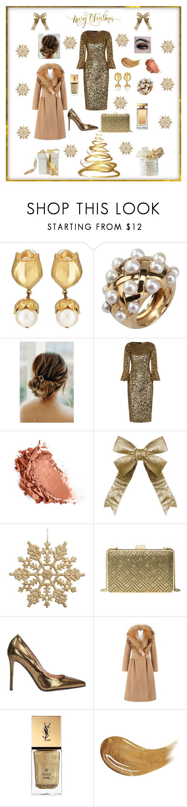 """Christmas Party Gold"" by marnie1979 ❤ liked on Polyvore featuring Chanel, Michael Kors, MICHAEL Michael Kors, L'Autre Chose, Pierre Cardin, Yves Saint Laurent, Too Faced Cosmetics, Dolce&Gabbana and BHCosmetics"