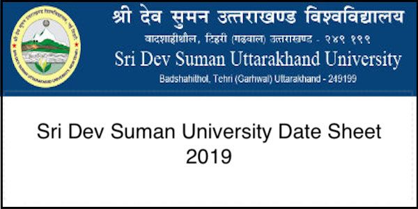Sri Dev Suman University Date Sheet 2019 | Education | Exam time