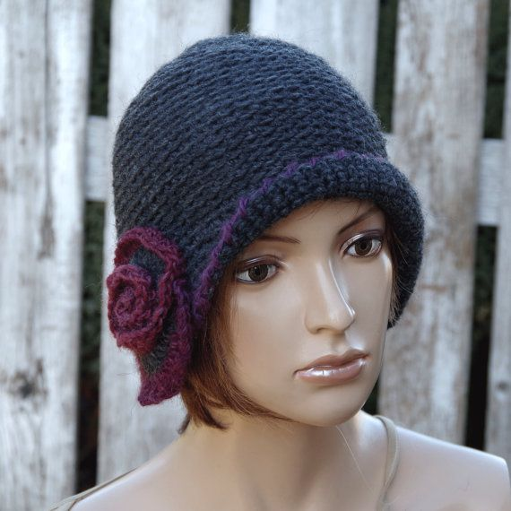 Crochet graphite hat Handmade Cloche Hat Cloches Knit by Degra2