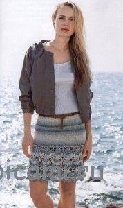 вязаная юбка спицами и крючком