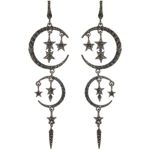 Eye Candy Los Angeles Moon & Stars Crystal Drop Earrings ($16) ❤ liked on Polyvore featuring jewelry, earrings, metallic, dangling jewelry, crystal earrings, post back earrings, crystal jewellery and drop earrings