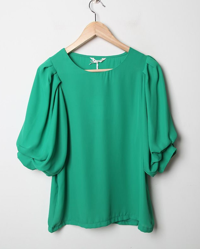 : Neck Shorts, Candy Colors, Colors Round, Loo Chiffon, Sleeve Green, Loose Chiffon, Shorts Sleeve, Green Loose, Chiffon Shirts