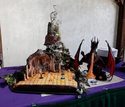 Bachelor cake for Jordan  D & D wedding cake. Play an encounter, then noms.