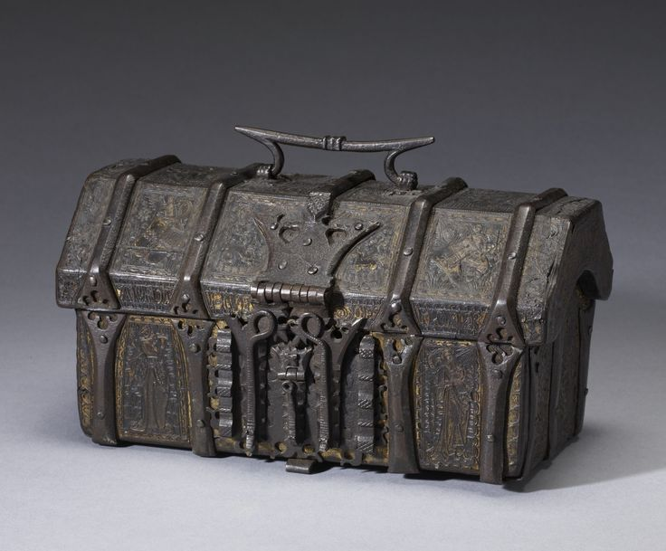 French / Casket with scenes from romances / early 15th century / Leather over wood, with iron and traces of gilding and pigment.