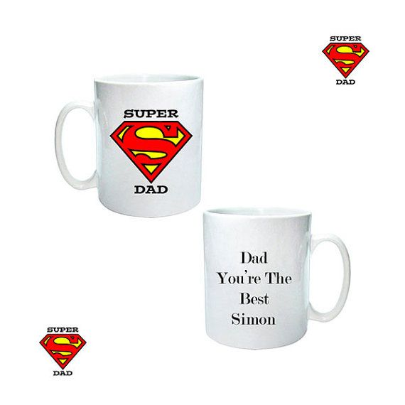 Personalised super dad mug ideal fathers day birthday by cjcprint