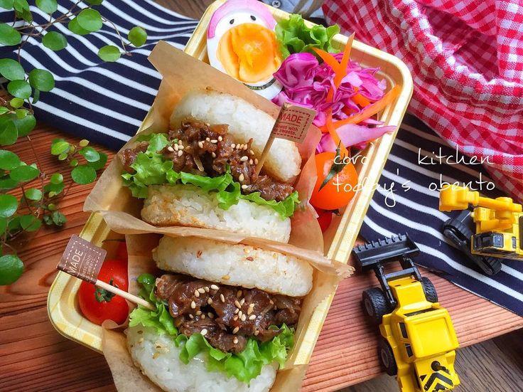 今日はぱぱどるテンションあがるにちがいない(๑˃̵ᴗ˂̵)‼︎ #ライスバーガー ◞♡⃛ 2種類作ろうと思ったけどめんどくさくなって焼肉だけ1種類(。-∀-)豆板醤でピリ辛ッ🤗 #お昼ごはん #お昼 #お弁当 #お弁当作り #ランチ #サラメシ #カフェ弁当 #洋風弁当 #ライスバーガー焼肉 #おうちカフェ #lunchbox #foodstagram #お弁当作り楽しもう部 #オベンタグラム #obento #cooking #旦那弁 #夫弁当 #常備菜弁当 #パパ弁当 #お弁当記録 #LIN_stagrammer #delistagrammer #デリスタグラマー #locari_kitchen #日本が元気になるご飯