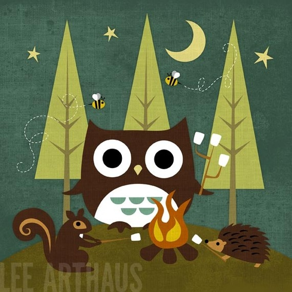 100R Retro Campfire Owl and Friends 6 x 6 Print by leearthaus, $15.00