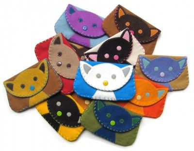 Felt Cat Snap Wallet Purse by Bubbledog on Etsy