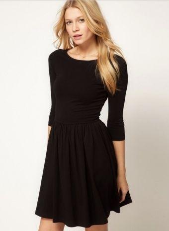 Long Black Jersey Knit Dress