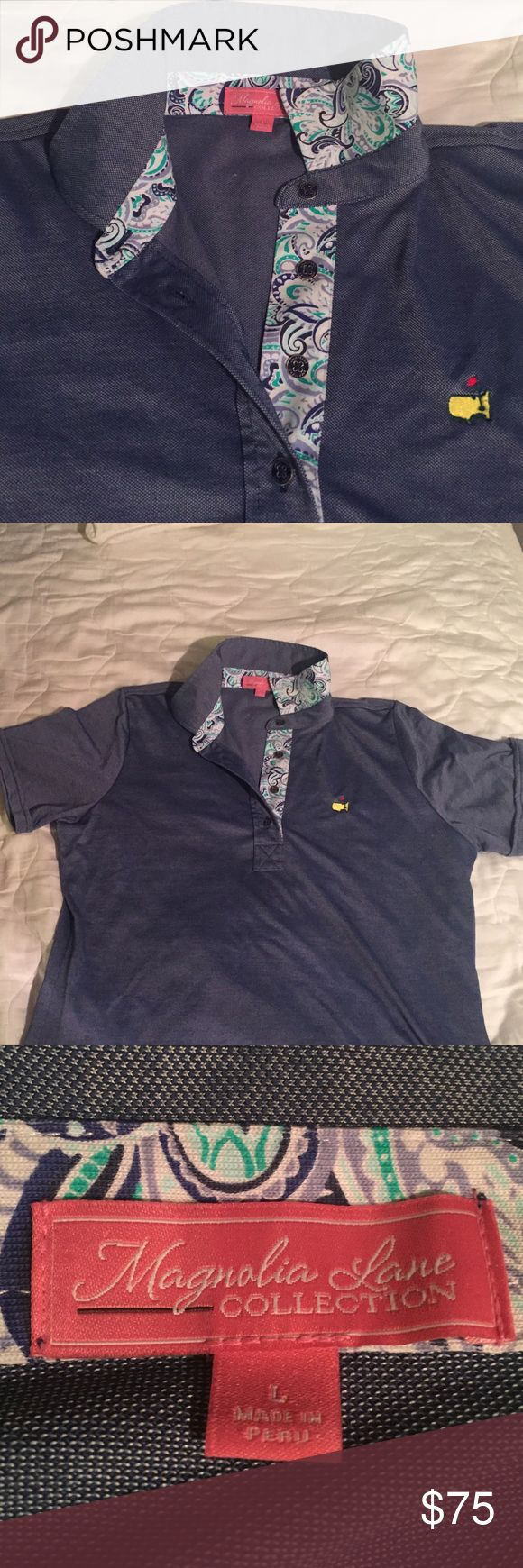 2016 woman's Masters golf shirt Denim blue color with paisley collar. Brand new without tags. Just does not fit. Size large Magnolia Tops Button Down Shirts