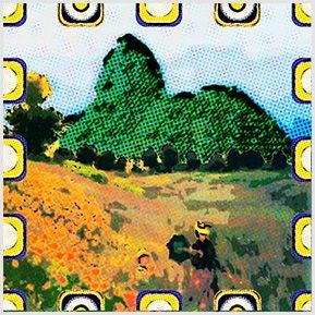 Monet no Aterro - Quadrinhos confeccionados em Azulejo no tamanho 15x15 cm.Tem um ganchinho no verso para fixar na parede. Inspirado em pinturasl. Para entrar em contato conosco, acesse: www.babadocerto.com.br