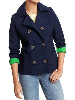 Cute raincoat, I like the different colored sleeves!  Women's Double-Breasted Canvas Raincoats | Old Navy