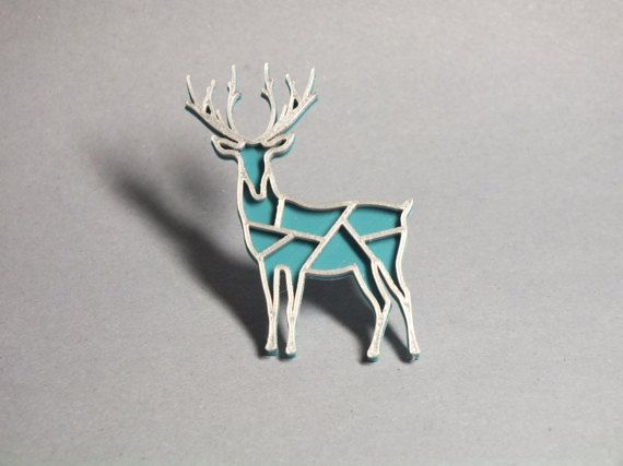 3D printed - Deer turquoise blue/silver