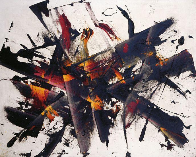 Reigl Judit: Outburst (Eclatement) - 1956 - oil on canvas (huile sur toile) - 85 x 114 cm - private collection, France