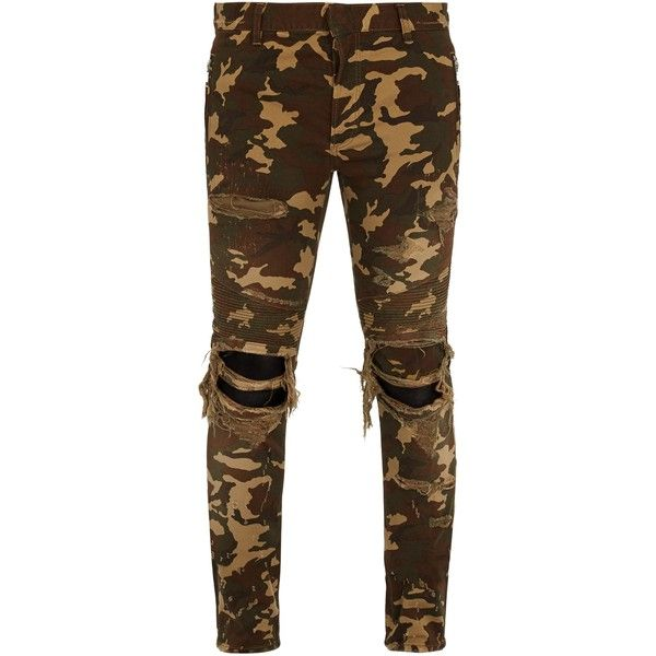 Balmain Distressed camouflage-print skinny biker jeans ($695) ❤ liked on Polyvore featuring men's fashion, men's clothing, men's jeans, camouflage, mens ripped jeans, mens destroyed jeans, mens destroyed skinny jeans, mens camo jeans and mens skinny jeans