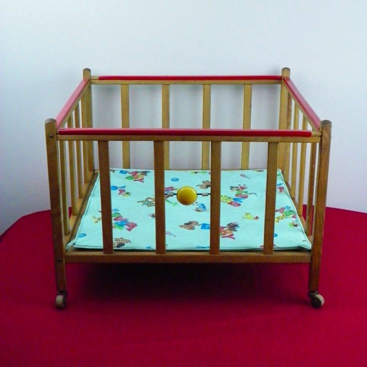 Vintage 1950's Baby Doll Wood Playpen Toy Bed Pad Jack In The Box Teddy Bear #Unbranded